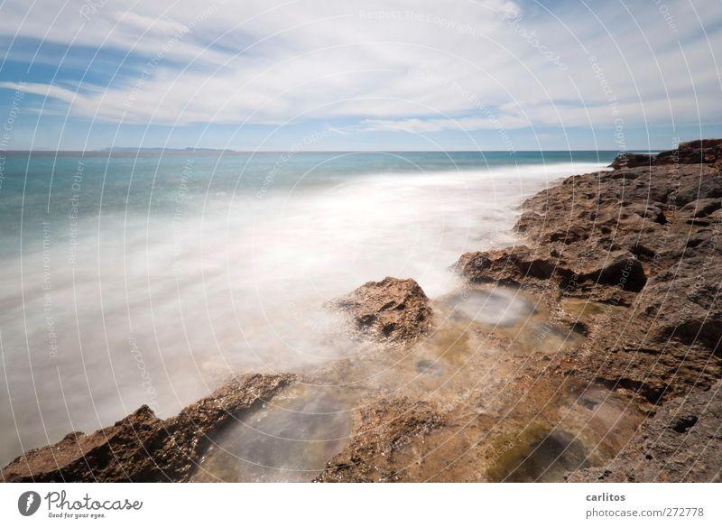H zwei O Himmel blau weiß Meer Umwelt Ferne Bewegung Küste Luft Horizont braun Felsen Wellen Wind Insel Energie