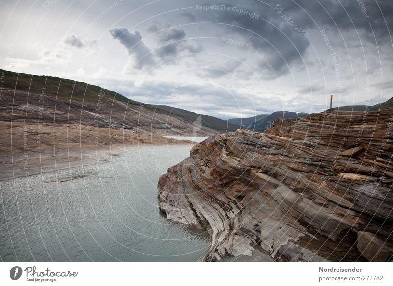 Eisschliff Berge u. Gebirge Umwelt Natur Landschaft Urelemente Wolken Klima Klimawandel Felsen Gletscher Stein Wasser beobachten Endzeitstimmung nackt