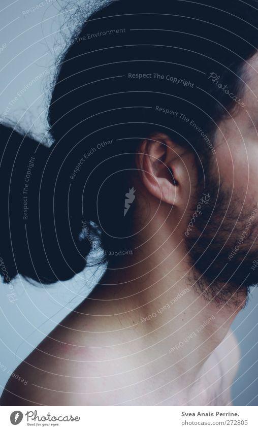 ! Mensch Mann Jugendliche Erwachsene dunkel kalt Haare & Frisuren Traurigkeit träumen Junger Mann Rücken maskulin Behaarung 18-30 Jahre Ohr dünn