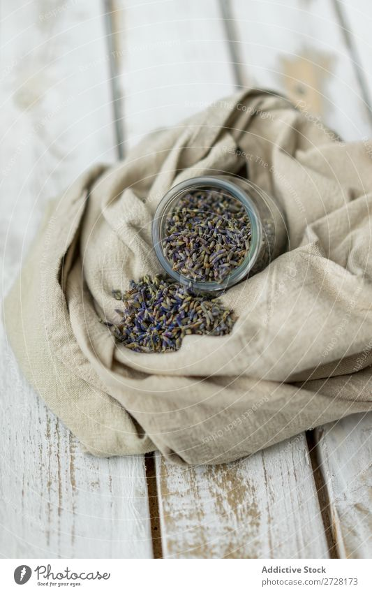 Rustikale Anordnung von aromatischen Samen im Glas rustikal Saatgut Lavendel Stil frisch organisch Geschmack Leinwand Zusammensetzung Duft Kräuter & Gewürze
