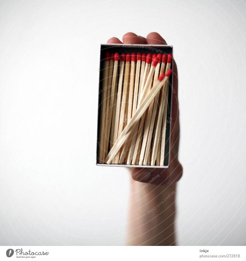 Lemminge Freizeit & Hobby Spielen Glücksspiel Hand Verpackung Kasten Streichholz fallen festhalten drängeln stürzend Am Rand viele hochhalten zeigen eng Neigung