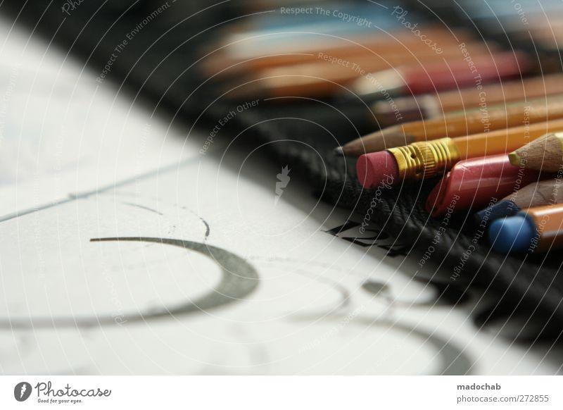 Kreativbesteck Medien Printmedien ästhetisch Kreativität Leidenschaft zeichnen Schreibstift Papier Entwurf analog Farbfoto Gedeckte Farben mehrfarbig