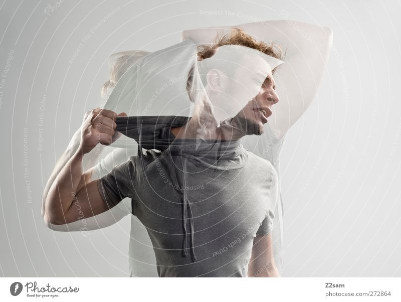 aus der haut fahren! Mensch Jugendliche Erwachsene Gefühle Bewegung blond Junger Mann maskulin 18-30 Jahre verrückt Kommunizieren T-Shirt festhalten Krankheit