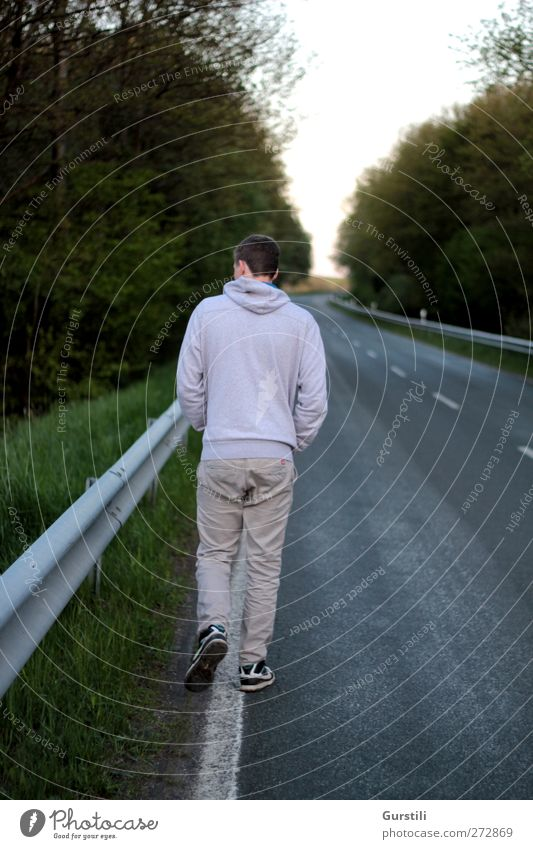Ist der Weg das Ziel? Fußgänger Straße Bewegung entdecken gehen laufen wandern einfach frei Unendlichkeit lang trist grau grün Verschwiegenheit Heimweh Fernweh