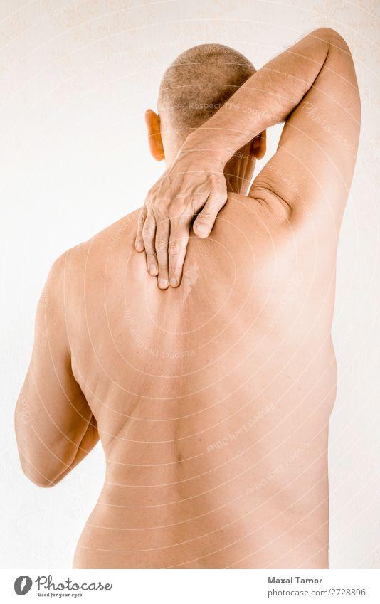 Mann leidet an Brustwirbelschmerzen Körper Gesundheitswesen Krankheit Medikament Massage Mensch Erwachsene Hand muskulös Schmerz Stress Neuralgie Schmerzen