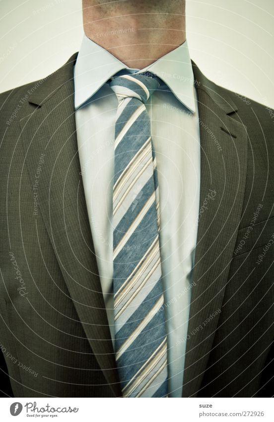 Ich hab so nen Hals! Mensch Mann Erwachsene Arbeit & Erwerbstätigkeit maskulin Ordnung Erfolg Bekleidung Streifen Hemd Jacke Anzug Dienstleistungsgewerbe