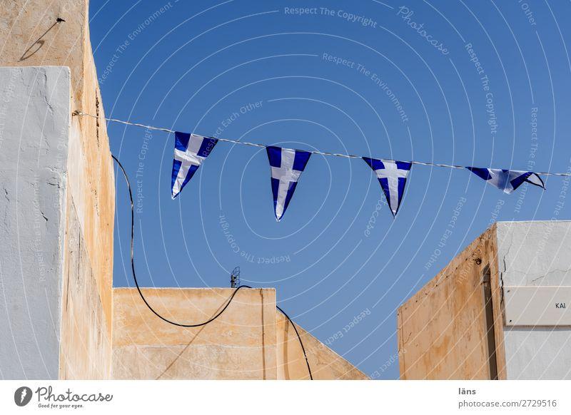 Wimpelkette Santorin Fahne Himmel Griechenland Haus