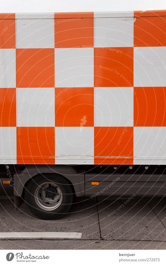 how about a nice game of chess Verkehr Güterverkehr & Logistik Autofahren Lastwagen orange weiß Verantwortung Design Sicherheit Schachbrett Asphalt Muster