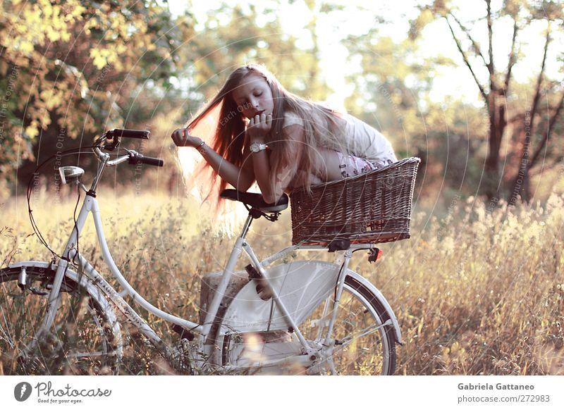 Mensch Kind Natur Baum gelb Straße feminin Herbst Gras klein träumen Stimmung Feld Fahrrad gold Abenteuer