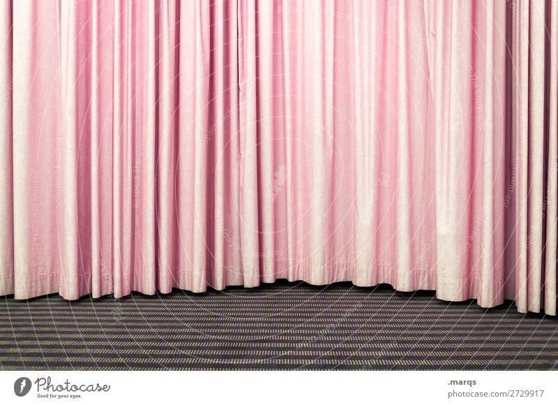 Rosa Vorhang Entertainment Veranstaltung Bühne Kultur Show einfach rosa Farbfoto Innenaufnahme Strukturen & Formen Menschenleer Textfreiraum links