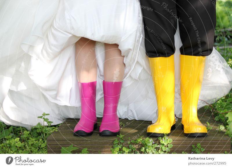 Hochzeitssaison die 2. weiß schwarz gelb Stil Mode Paar Zusammensein rosa außergewöhnlich frisch verrückt Lifestyle Bekleidung einzigartig Kleid
