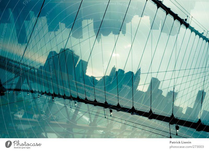 After nights without sleep Stadt Skyline bevölkert Hochhaus Bankgebäude Brücke Bauwerk Gebäude Architektur Sehenswürdigkeit Wahrzeichen Verkehr bizarr
