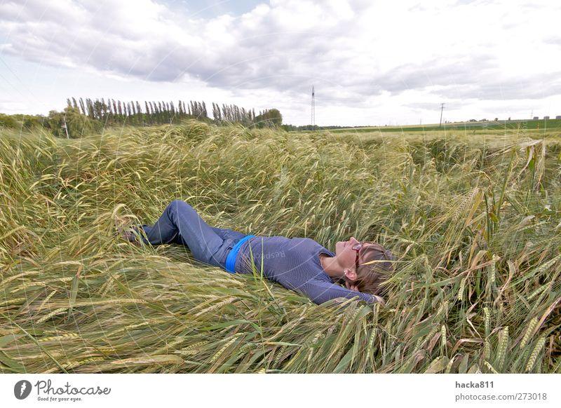 Ein Bett im Kornfeld Mensch Natur Jugendliche Pflanze Sonne Sommer Wolken ruhig Erwachsene Erholung Ferne Landschaft feminin Leben Freiheit Glück