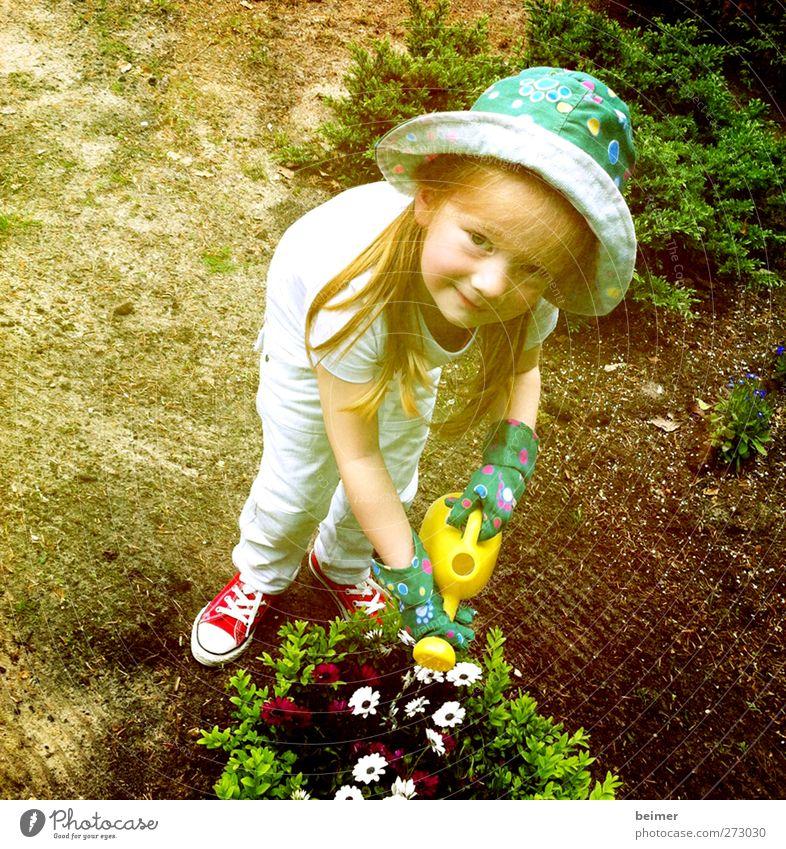 kleine Gärtnerin feminin Kind Mädchen Kindheit Körper Gesicht 1 Mensch 3-8 Jahre Natur Sommer Schönes Wetter Blume Blüte Garten Handschuhe Hut rothaarig