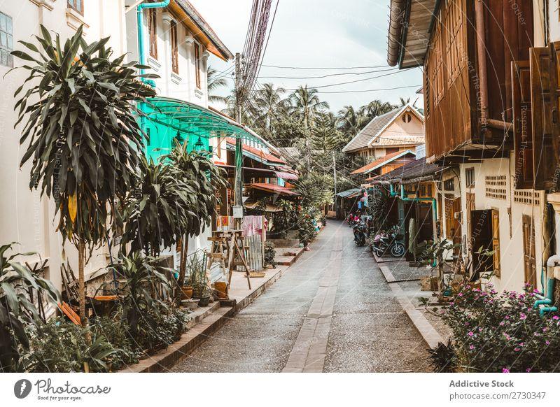 Schmale Straße mit kleinen Häusern schmal Haus Stadt Architektur Perspektive Ferien & Urlaub & Reisen asiatisch Großstadt alt Gasse Tradition Tourismus