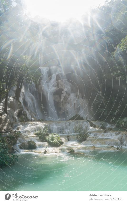 Schöner Wasserfall an einem sonnigen Tag Wald Kaskade Natur Landschaft Ferien & Urlaub & Reisen Fluss Park schön grün strömen Tourismus fließen Urwald tropisch