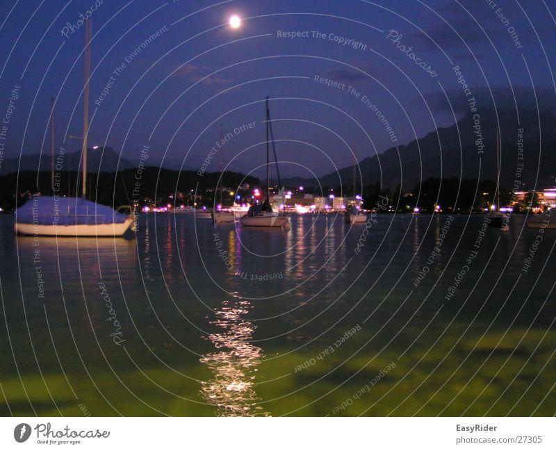 Mondschein Wasser See Wasserfahrzeug Hafen Luzern Vierwaldstätter See