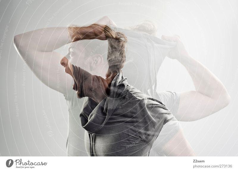 Schrei nach Freiheit! Mensch Jugendliche Erwachsene Gefühle Bewegung Freiheit blond Junger Mann maskulin 18-30 Jahre verrückt Kommunizieren T-Shirt festhalten schreiben Krankheit