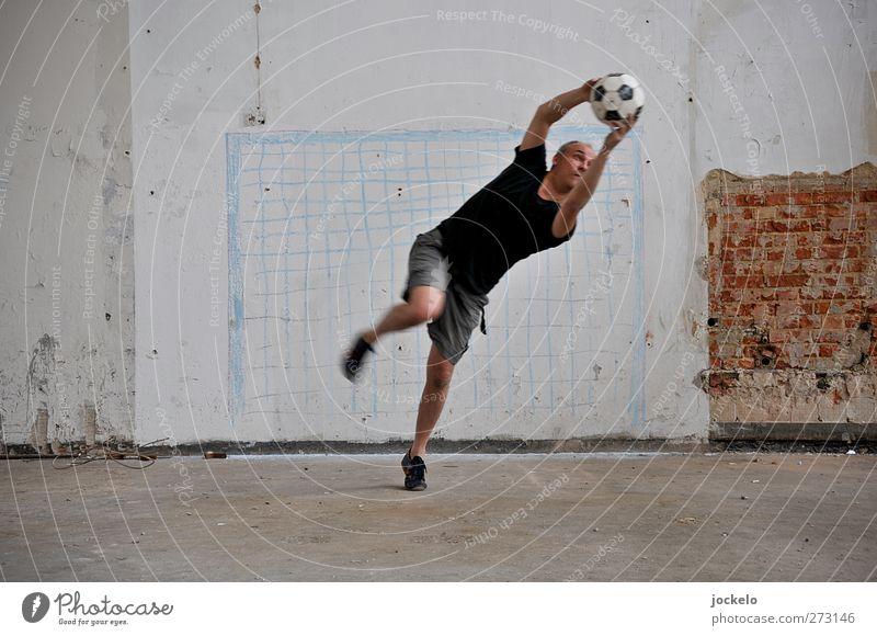 Auuuuuuuuuuuuuu Sport Sportler Torwart Publikum Fan Fußball Sportstätten Fußballplatz maskulin Junger Mann Jugendliche 1 Mensch fallen fangen Farbfoto