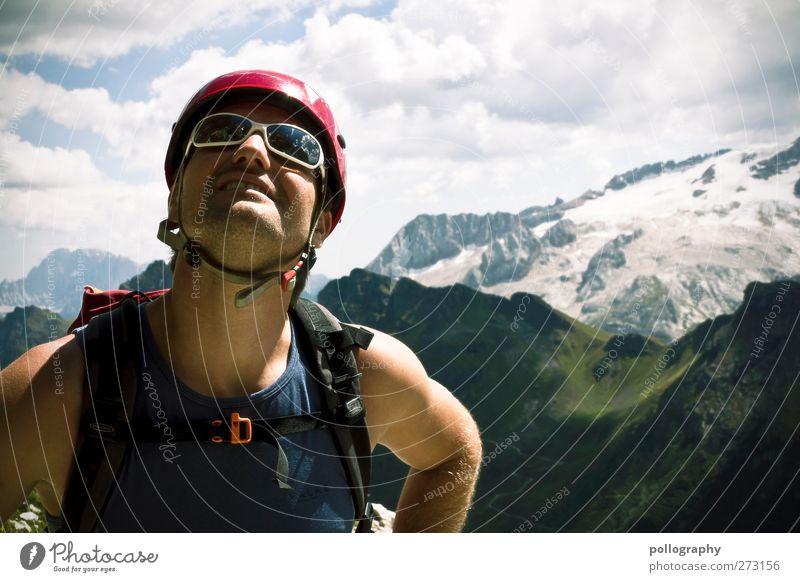 Der Berg ruft! Mensch Himmel Mann Natur Ferien & Urlaub & Reisen Pflanze Sommer Wolken Erwachsene Ferne Landschaft Berge u. Gebirge Leben Gras Freiheit Felsen