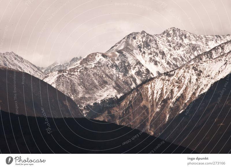 Hoch in den Bergen Umwelt Natur Landschaft Pflanze Wolken Winter Klima Wetter schlechtes Wetter Eis Frost Schnee Felsen Berge u. Gebirge Gipfel