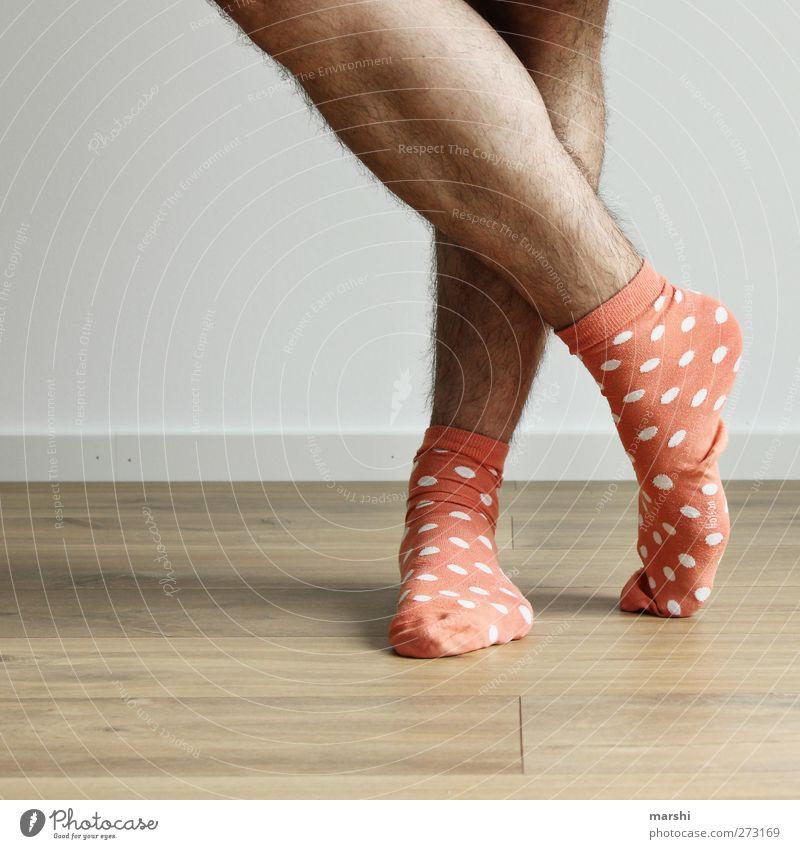 heute mal cool. Stil Mensch maskulin Junger Mann Jugendliche Erwachsene Beine Fuß 1 Mode Bekleidung Strümpfe Accessoire orange lustig gepunktet Behaarung