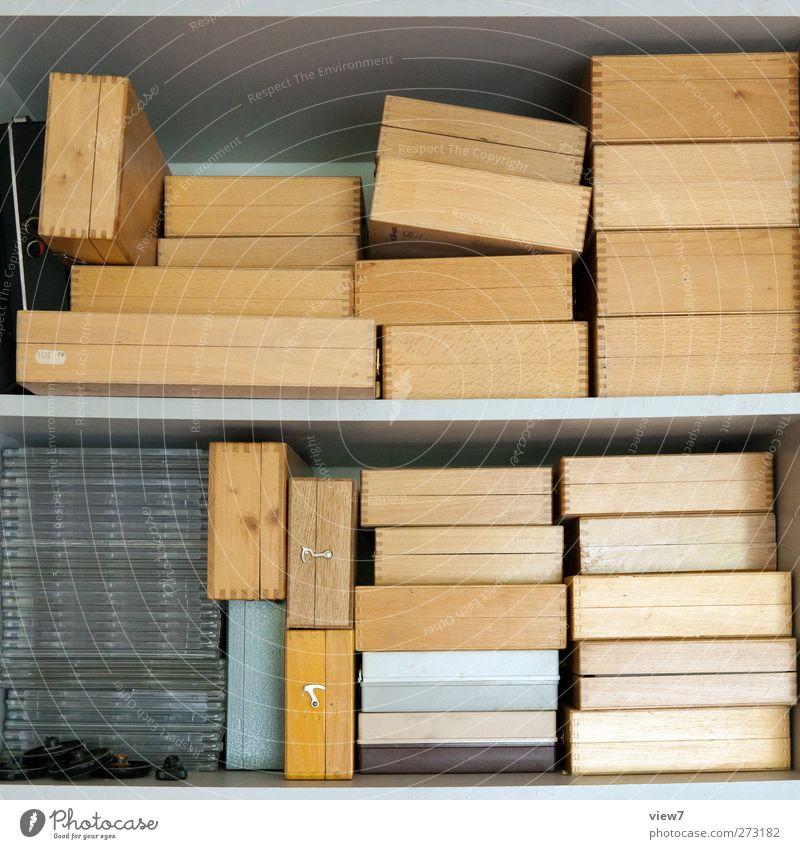 Diathek Innenarchitektur Möbel Büroarbeit Arbeitsplatz Güterverkehr & Logistik Holz ästhetisch authentisch modern schön braun Beginn Lager Regal lagerregal