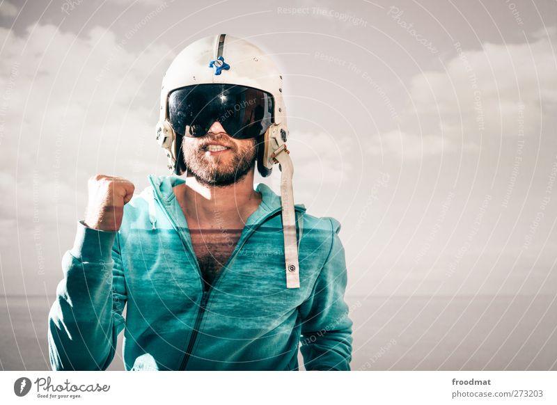 protected run Mensch Mann Jugendliche Wolken Erwachsene Bewegung lustig Mode Junger Mann außergewöhnlich laufen Energie maskulin verrückt Lifestyle Coolness