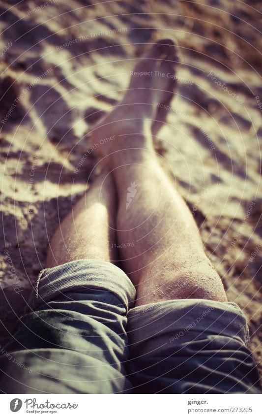 Hiddensee | Der Strand lockt Freizeit & Hobby Ferien & Urlaub & Reisen Beine liegen Erholung Pause Knie Jeanshose umgeschlagen Wade Fuß Zehen maskulin Behaarung