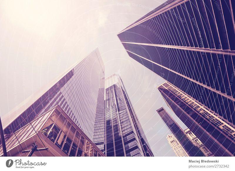 Blick auf Wolkenkratzer gegen die Sonne, NYC. Lifestyle kaufen Reichtum elegant Städtereise Häusliches Leben Wohnung Arbeit & Erwerbstätigkeit Büro Wirtschaft