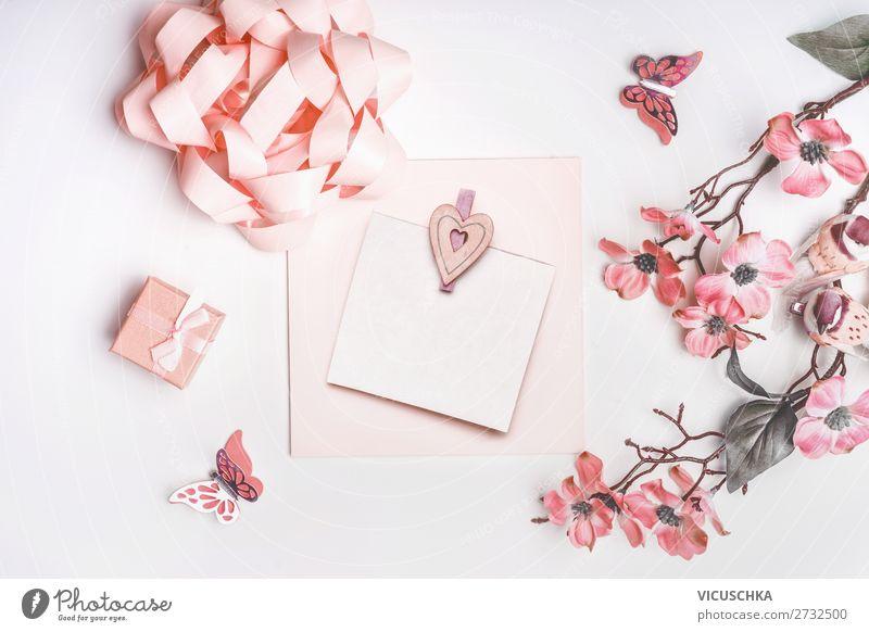 Grußkarte mit Blumen Design Feste & Feiern Valentinstag Muttertag Hochzeit Geburtstag feminin Dekoration & Verzierung Blumenstrauß Schleife Herz Liebe rosa