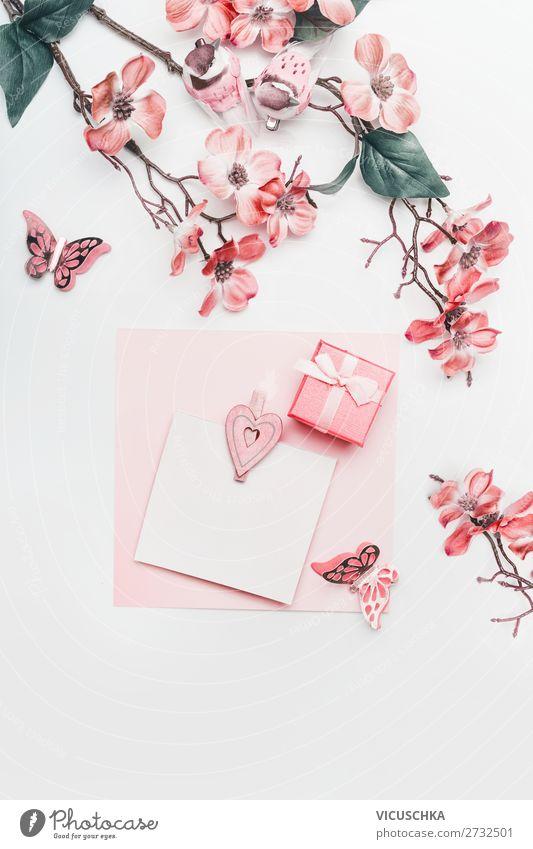 Grußkarte in korall Farbe mit Blumen Stil Design Feste & Feiern Muttertag Ostern Hochzeit Geburtstag feminin Dekoration & Verzierung Blumenstrauß Schleife Liebe
