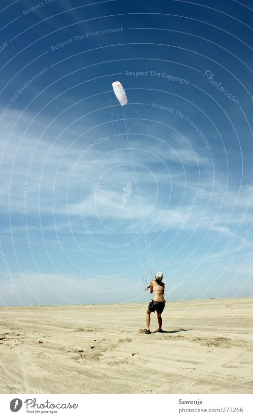 Kampf mit dem Wind Mensch Jugendliche Ferien & Urlaub & Reisen Sonne Sommer Strand Freude Landschaft feminin Sport Wärme Sand Junge Frau Körper fliegen