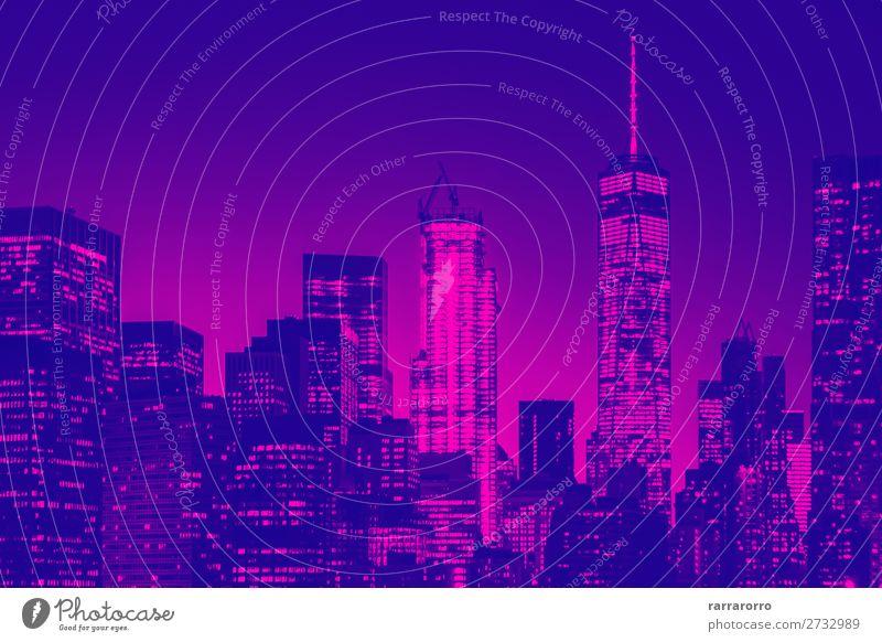 Nachtansicht der Skyline von Lower Manhattan in New York Ferien & Urlaub & Reisen Tourismus Tapete Büro Business Kunst Landschaft Himmel Stadtzentrum Hochhaus