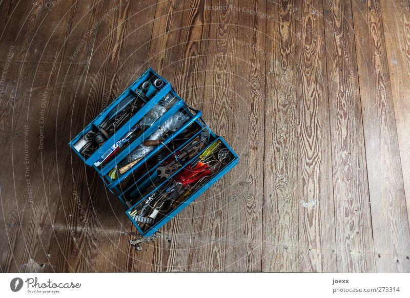 Es gibt immer was zu tun blau alt gelb dunkel braun Baustelle retro Werkzeug eckig Holzfußboden Reparatur Werkzeugkasten