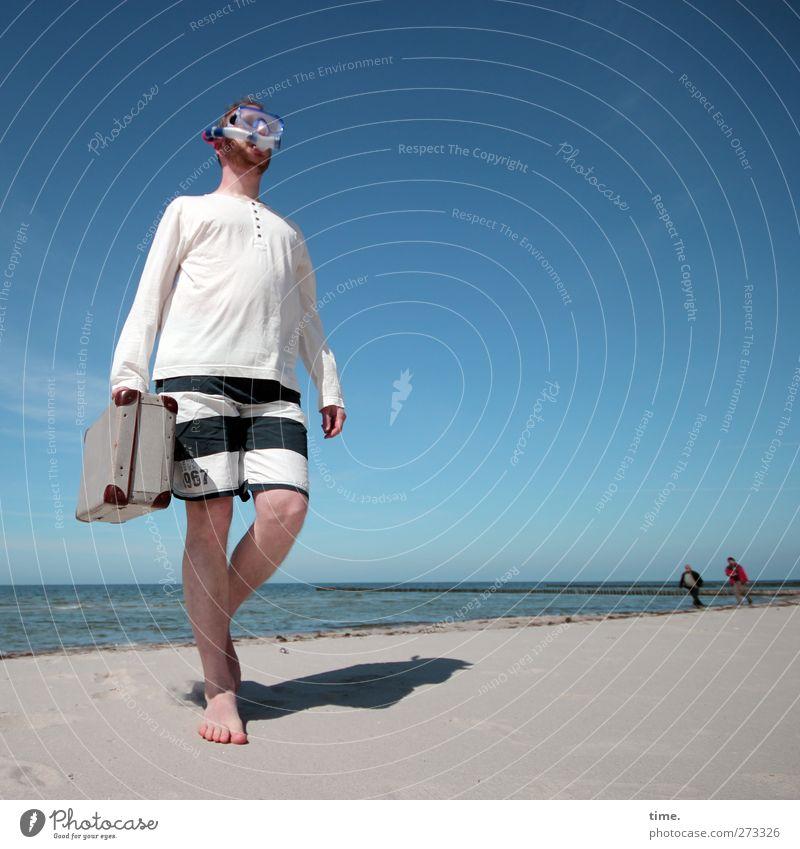 Hiddensee | Unauffällige Geldübergabe Mensch Himmel Mann Wasser Ferien & Urlaub & Reisen Strand Freude Erwachsene Umwelt Frühling Bewegung Küste Sand Horizont