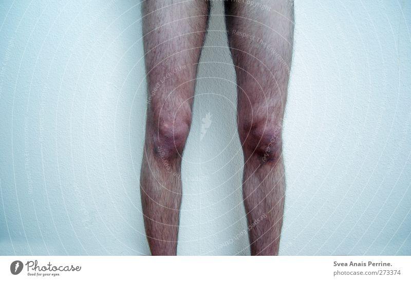 II Mensch Jugendliche kalt Wand Mauer Beine Junger Mann Haut Behaarung maskulin stehen dünn Knie Oberschenkel Unterschenkel
