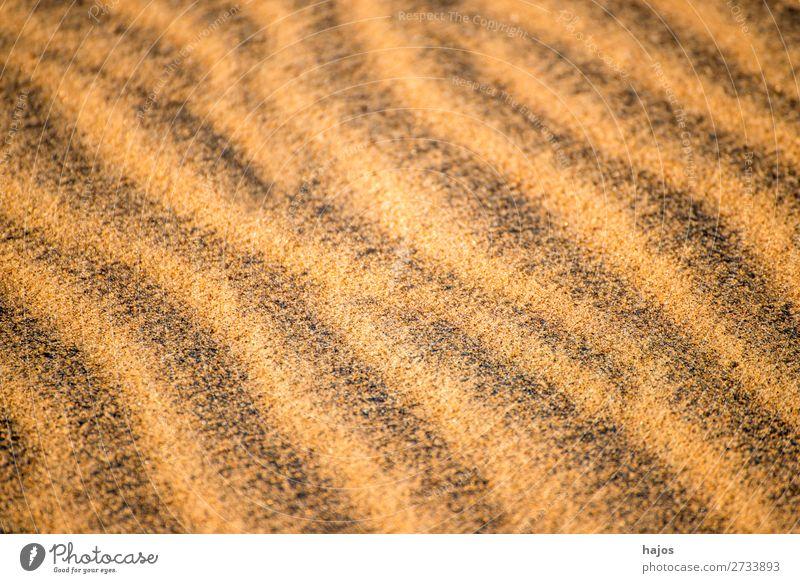Sandstrand mit Mustern Sommer Strand maritim Linien Täler Höhen Wellen Textur gemustert linienförmig Textraum Farbfoto Nahaufnahme Menschenleer