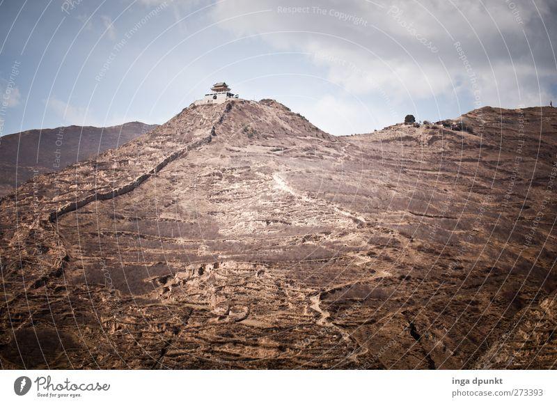weit im Westen Umwelt Natur Landschaft Urelemente Erde Wärme Berge u. Gebirge Wüste China Gangsu Chinesische Mauer Wachturm Chinesischer Turm Bauwerk Gebäude