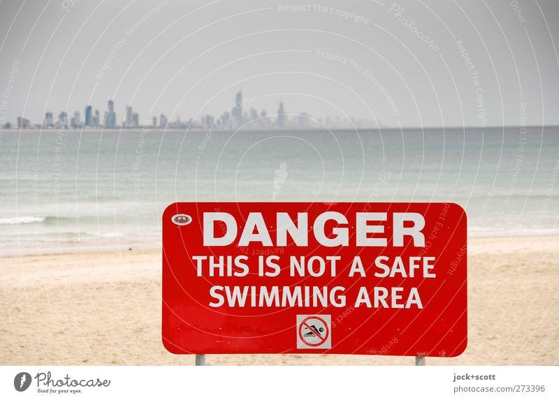 DO NOT SWIM Himmel Ferien & Urlaub & Reisen Stadt Wasser rot Strand Ferne Umwelt Wärme Küste Schwimmen & Baden Sand Metall Horizont Ordnung Hochhaus