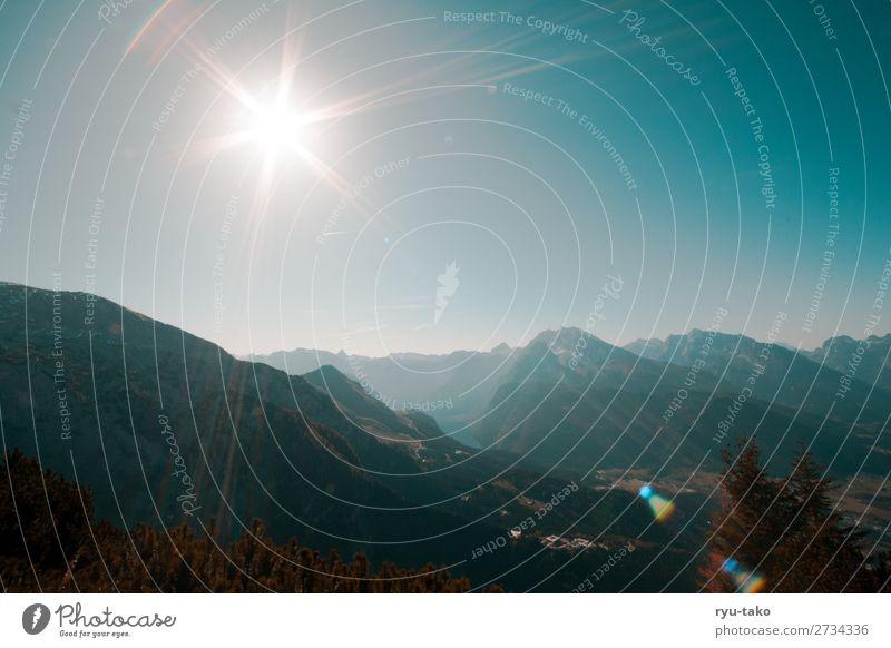 Berchtesgadener Land II Natur Landschaft Herbst Schönes Wetter Berge u. Gebirge See Königssee Zufriedenheit Lebensfreude Gelassenheit ruhig oben Ferne Aussicht