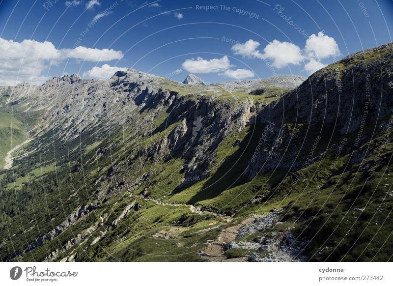 Übersichtlich Himmel Natur Ferien & Urlaub & Reisen ruhig Erholung Umwelt Ferne Landschaft Berge u. Gebirge Freiheit Wege & Pfade träumen Horizont wandern Tourismus Ausflug