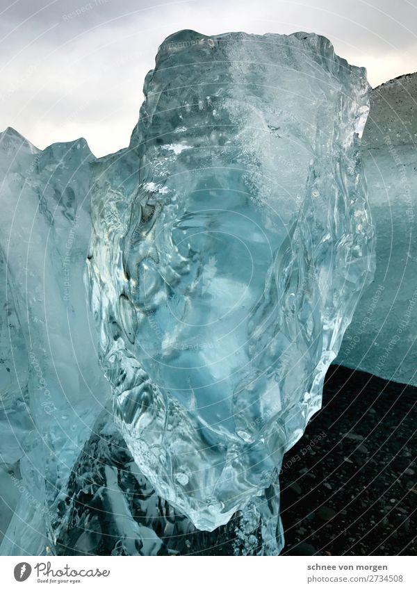 Eiskalte Fakten Umwelt Natur Urelemente Wasser Winter Klima Frost Schnee Küste Fjord blau weiß Coolness Fernweh Umweltverschmutzung Farbfoto Außenaufnahme Tag