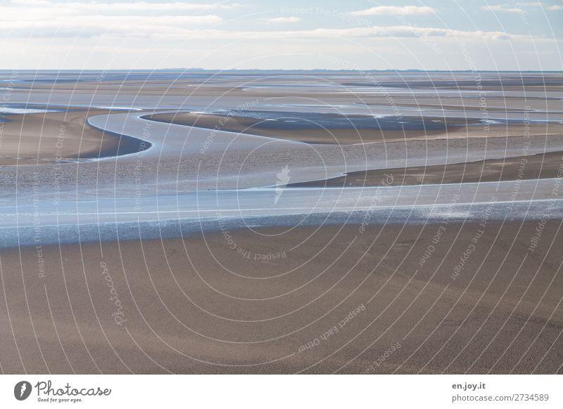 Wasserwege Ferien & Urlaub & Reisen Ausflug Ferne Meer Natur Landschaft Urelemente Sand Himmel Horizont Küste Wattenmeer Unendlichkeit bizarr Klima Tourismus
