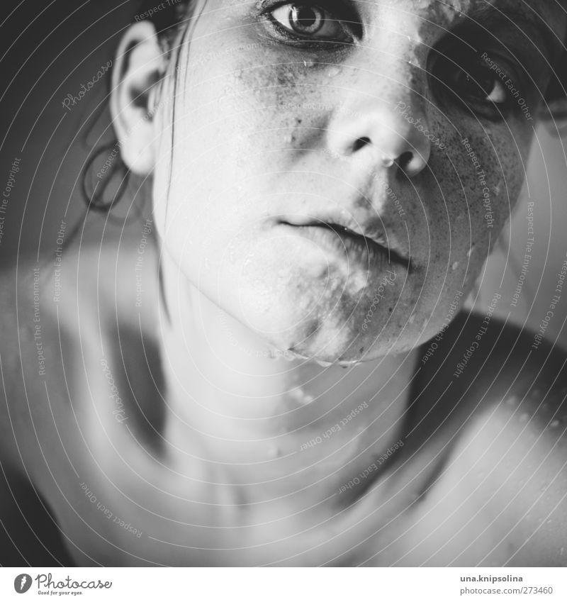shower. feminin Junge Frau Jugendliche Erwachsene Gesicht 1 Mensch 18-30 Jahre Wasser Wassertropfen nackt nass schön Erotik weich Gefühle Stimmung