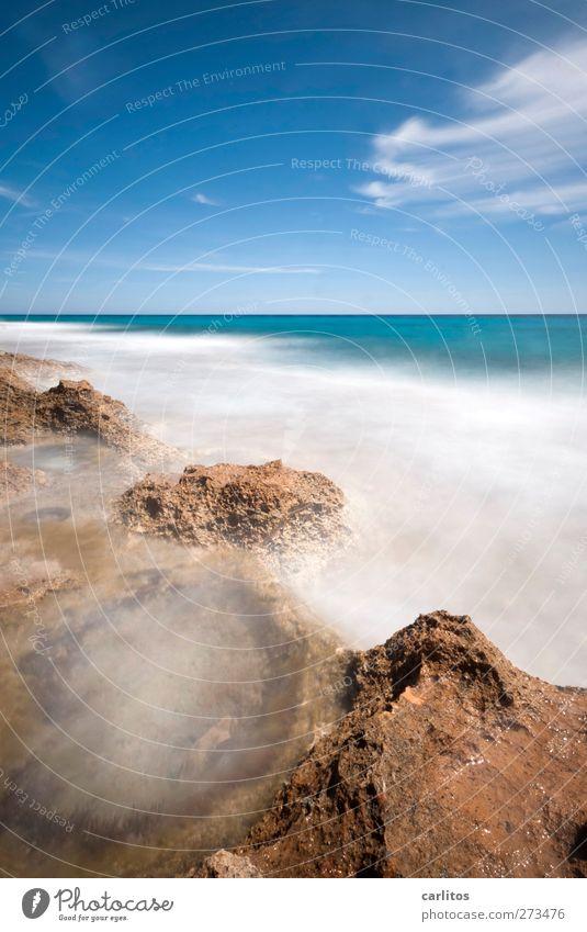 wenn die Zeit stillsteht Himmel blau Wasser weiß Sommer Meer Wolken ruhig Umwelt Ferne Bewegung Küste Luft Horizont braun Felsen