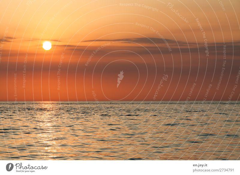 Abendruhe Ferien & Urlaub & Reisen Sommer Sommerurlaub Sonne Meer Natur Landschaft Urelemente Himmel Horizont Sonnenaufgang Sonnenuntergang Klima Klimawandel