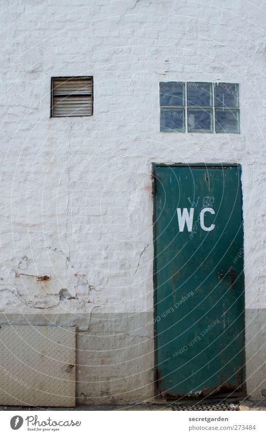 das klo ist im hof. ruhig Häusliches Leben Bauwerk Gebäude Fassade Fenster Tür Lüftungsklappe Lüftungsschlitz Holz Backstein Schriftzeichen dunkel trashig grün