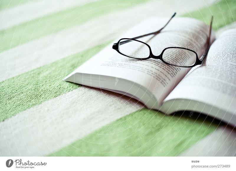 Lesestoff ruhig Erholung hell Zeit Freizeit & Hobby Buch Tisch Häusliches Leben Streifen Pause lesen Brille Wohlgefühl Wissen harmonisch Decke