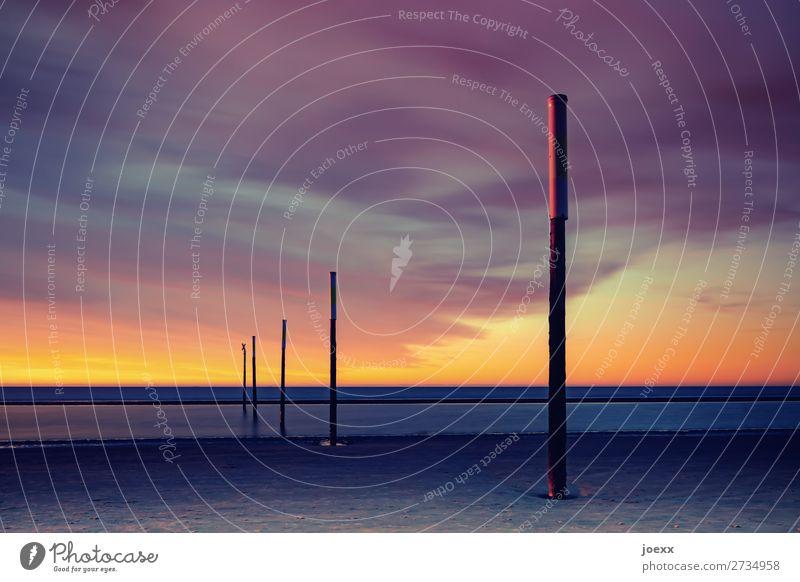 Fokus Ferien & Urlaub & Reisen Sommerurlaub Strand Meer Horizont Sonnenaufgang Sonnenuntergang Schönes Wetter Nordsee St. Peter-Ording maritim grau orange